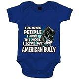 Body bebé I love my American Bully raza perro - Azul Royal, Talla única 12 meses