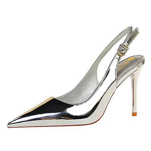 SeiteHuud Moda Mujer Tacón de Aguja Sandalias Slingback Verano Zapatos Puntiagudo Sandalias con Hebilla Oficina Trabajoing Pumps Silver Numero 35 Asiática