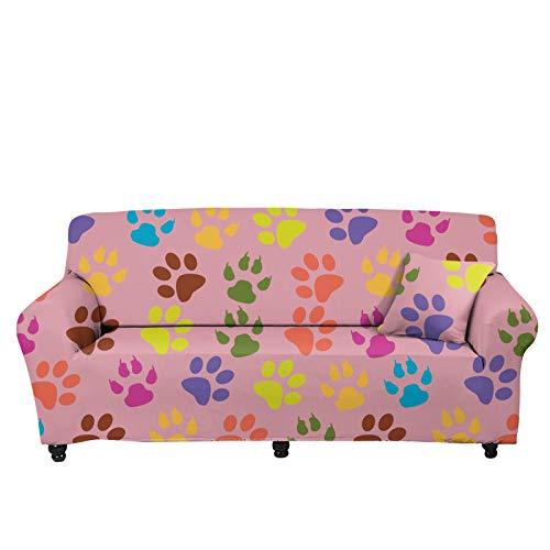 Pizding Funda elástica para sofá de 74,8 a 230,1 cm, protector de muebles, suave con correa inferior elástica, transpirable, duradera, grande y colorida, estampado de huellas de perro, color rosa