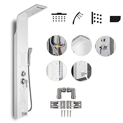 Hopopula 5 in 1 Edelstahl Duschsäule Kopfbrause Regenduschensäule Hydromassage Wasserfall Handbrause Duschsystem für Haus Hotel(Weiß)