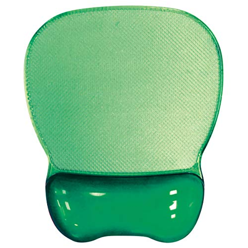 Aidata CGL003G Crystal Gel Mouse Pad Wrist Rest, Green, Ergonomic Design, Redistribute Pressure Points, Transparent Soft Gel Wrist Rest, Stain and Water-resistant