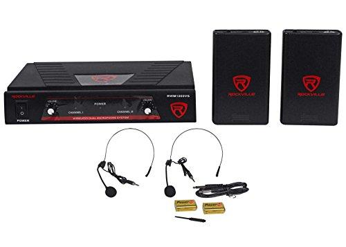 Rockville RWM1203VS VHF Wireless Dual Headset Microphone Mic System