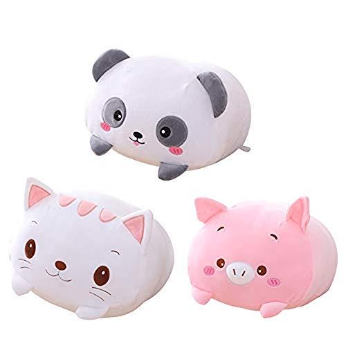 AIXINI 8 inch 3pcs Cute Panda/Pig/Cat Plush Stuffed Animal Cylindrical Body Pillow,Super Soft Cartoon Hugging Toy Gifts for Bedding, Kids Sleeping Kawaii Pillow
