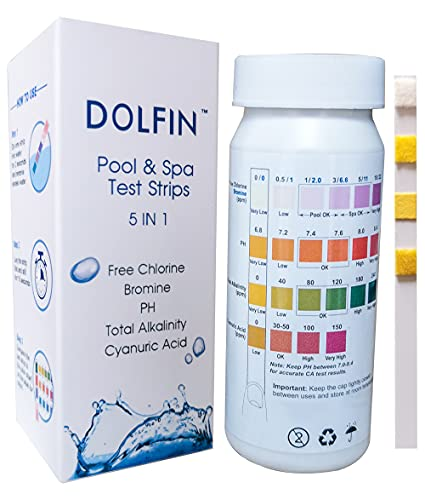 Dolfin Pool Test Strips, SPA Test Strips, Water Test kit for Pool & Hot Tub, PH Test Strips for Free Chlorine, Bromine, Total Alkalinity, Cyanuric Acid 50 Counts