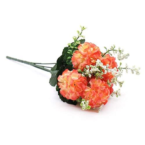 XCVB Kunstmatige filigraan 1 boeket 5 hoofden Kunstbloem Hortensia Zijde Nepbloem Voor Valentijnsdag Bruiloft Festival Feest Woondecoratie, perzik