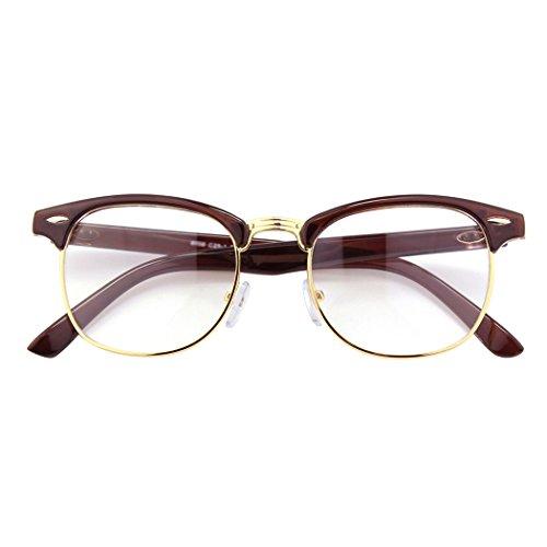 CGID CGID 50er Jahre Retro Nerd Brille Halbrahmen Hornbrille Stil Rockabilly Streberbrille,Braun