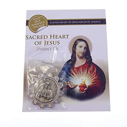CBC Katholieke Heilig Hart van Jezus zilver metalen auto plaque lijm & magnetische 3.5cm