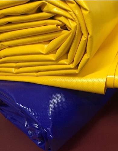 (3,2 m breit) LKW Plane/PVC-Plane 600g / m² für Pferdetraining, Longierhilfen Ersatzteile, Schaumstoffbalken, Gassen - BLAU UND GELB (Gelb)