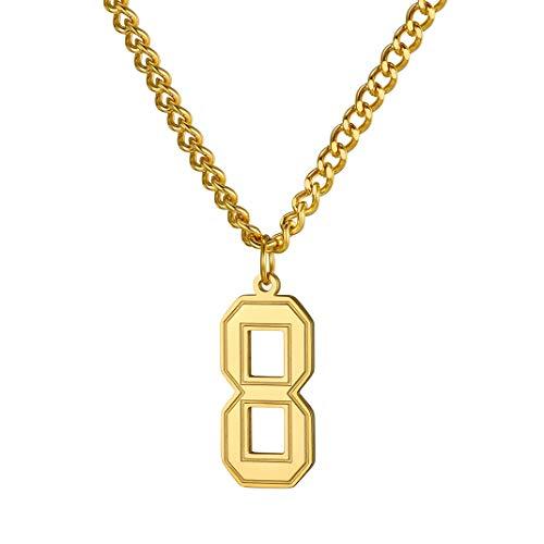 GoldChic Jewelry Baseball Nummer Anhänger Unisex Edelstahl Glücklich Nummer Halsketten Baseball Jersey Nummer in Gold/Silber/Schwarz mit 61cm+5cm Lange Ketten für Herren/Damen