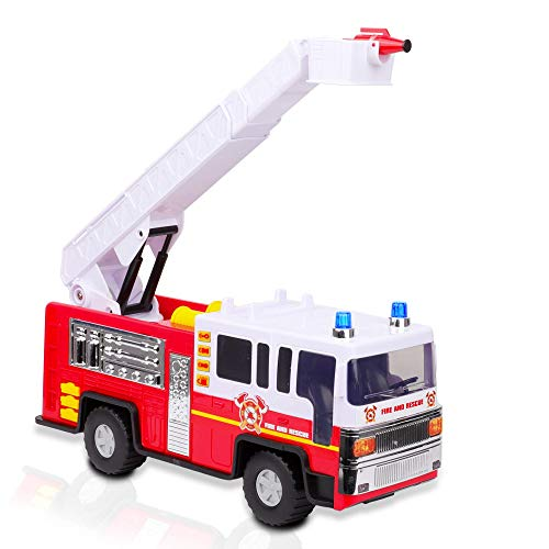 Playkidiz 15' Fire Truck Toy for Kids with Lights and Siren Sounds, Classic Red and White Rolling Emergency Vehicle, Interactive Play Movable Ladder, Early Learning Fun, Boys or Girls