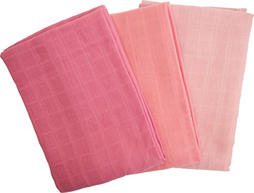 Popolini Mullwindeln 70x70 cm aus Bio-Baumwolle 3er-Set (Erdbeer)