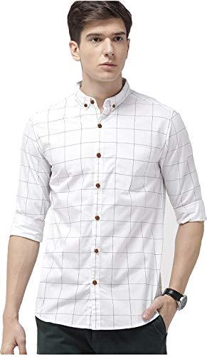Tryme Fashion Men's Regular Fit Shirt (Men's Casual Shirt Checks_White_X-Large)
