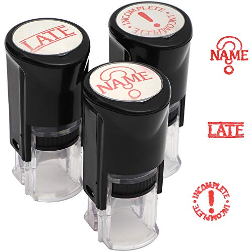 Self Inking Stamp Set, Rubber Stamps (Red, 3 Pack)