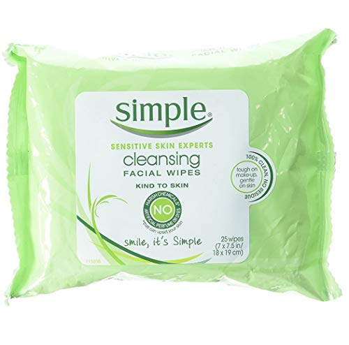 Simple Sensitive Skin Experts Kind To Skin Cleansing Facial Wipes, Waterproof Mascara Remover, Even Softer, 25 Count, (4 Pack)