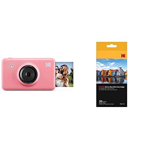 Kodak Mini ShotImpresiones inalámbricas de 5 x 7.6 cm con 4 Pass, tecnología de impresión patentada + –Cartucho MC impresión fotográfica Mini, Todo en uno, Tinta y Papel, Lote de 30