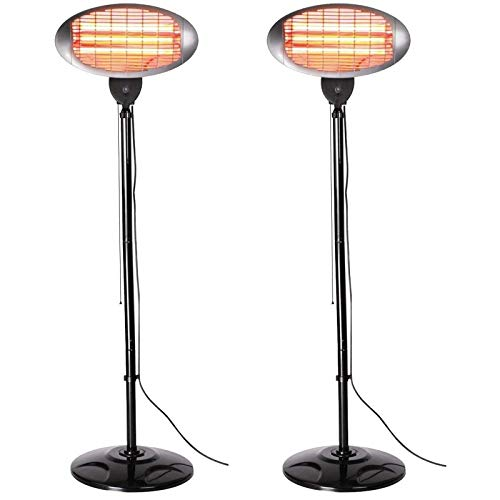 TXYJ Set of 2 2kW Outdoor Freestanding Electric Quartz Bulb Garden Patio Heaters - 3 Power Settings