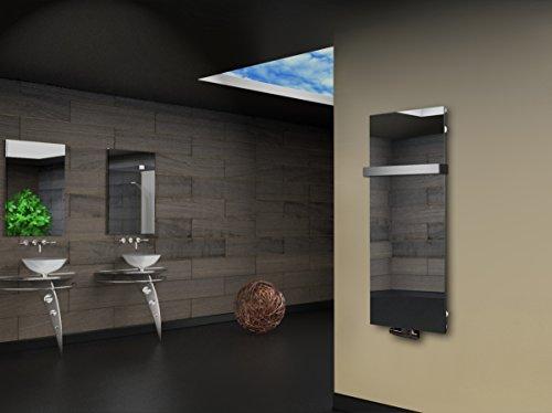 Badheizkörper Design Montevideo 2 (Spiegelglas) HxB: 120 x 47 cm, 799 Watt, Spiegel + 1 Handtuchhalter (50mm) (Marke: Szagato) Made in Germany/Bad und Wohnraum-Heizkörper (Mittelanschluss)
