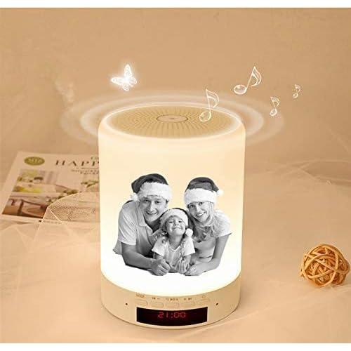 Foto personalizzata Lampada da Comodino Touch Controllo Bluetooth Altoparlante Cassa Sveglia Digitale per Camera da Letto Cafe Regalo di Natale