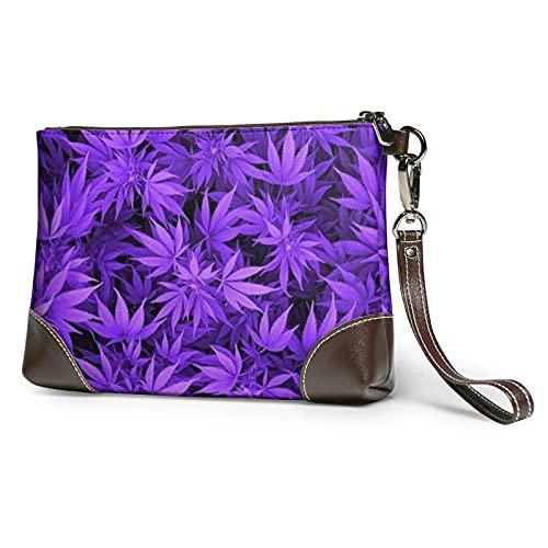 MGBWAPS Marihuana Weed Leaf Embrague, bolso de mano de cuero, bolso cosmético, bolso de embrague, (Como se muestra), Talla única