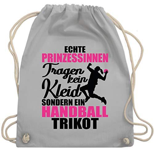 Shirtracer Handball - Echte Prinzessinnen tragen kein Kleid sondern ein Handball Trikot - schwarz/fuchsia - Unisize - Hellgrau - WM110_Stoffbeutel - WM110 - Turnbeutel und Stoffbeutel aus Baumwolle