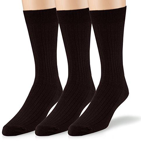 EMEM Apparel Men's Big and Tall King Size Casual Soft Ribbed Cotton Knit Classic Mid Calf Crew Dress Hosiery Socks 3-Pack Black 13-15
