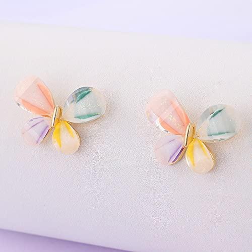 FEARRIN Pendientes a Granel de Flores de Colores, Pendientes de botón para Mujer, Encantador corazón geométrico, Pendientes encantadores, Accesorios de joyería de Fiesta 16023