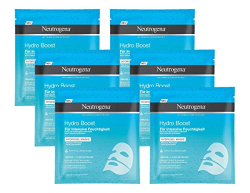 Neutrogena Hydro Boost Hydrogel Maske, mit Hyaluronsäure für intensive Feuchtigkeit, 6 x 30 ml