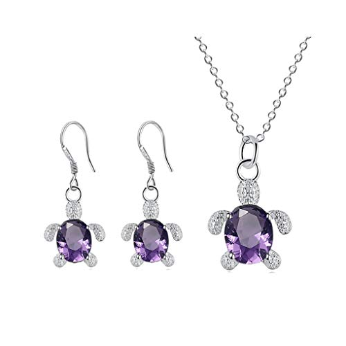 Crystal Turtle Pendant Necklace Earring Set, Cute Animal Sea Turtle Clavicle Necklace Drop Earrings Jewelry Set (Purple)