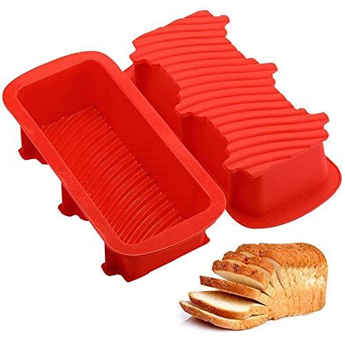 JPYH 2 Piezas Molde para Pan Silicona,Molde Rectangular Silicona Horno Antiadherente para Panes,Se Utiliza para Hornear Pasteles, Pan, Pasteles,Rojo