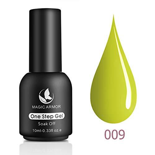 MAGIC ARMOR One Step Gel Nail Polish No Need Base and Top Coat Fast Cure UV Gel Polish 10ML Nail Art Manicure Kit Gift Box Neon Yellow - 009