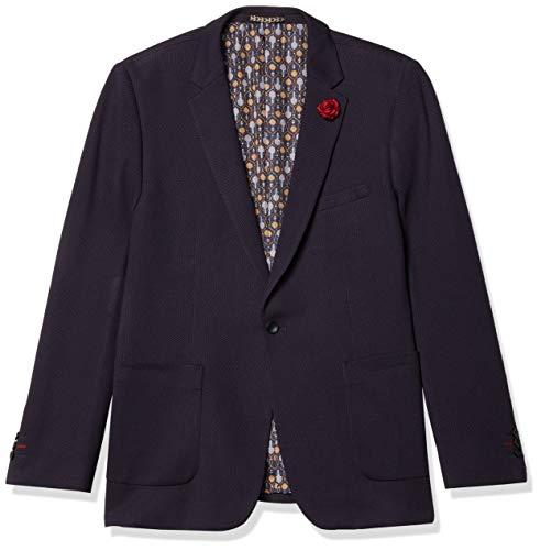 Azaro Uomo Men's Knit Casual Blazer Jacket Black White Maroon Fashion, Navy Blue, X-Large