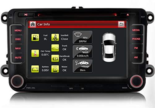 Xgotogo 7 Zoll Autoradio mit DVD CD Player/GPS/FM/AM/Bluetooth/USB/SD, Radio unterstützt DAB+,Rückfahrkamera, Lenkradsteuerung, 2 din Autoradio Für VW, Skoda, Seat Wince System 8GB Karte