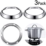 3 Packs Wok Ring, Stainless Steel Wok Rack Wok Stand 7.3 Inch and 8.5 Inch Reversible Size Wok Stove Ring Round Bottom for Gas Burner Kitchen Use