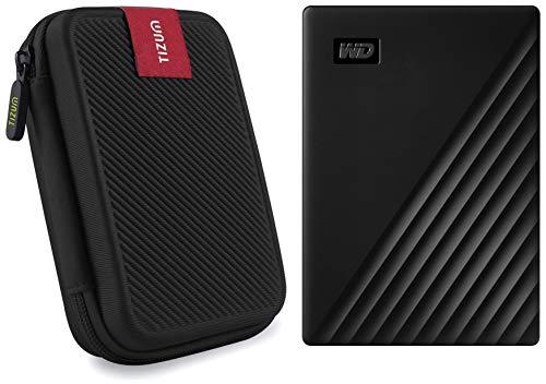 Western Digital WD 2TB My Passport Portable External Hard Drive, Black, 256B and TIZUM External Hard Drive Case for 2.5-Inch Hard Drive – Double Padded (Black)