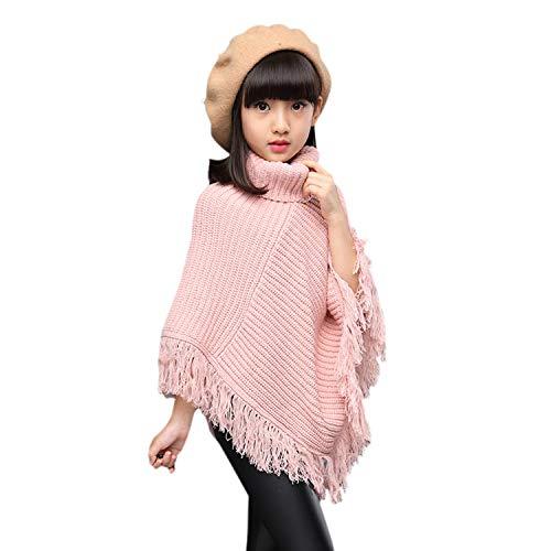 Girls High Neck Knitted Poncho Tassels Draped Cloak Cape Sweater Irregular Hem Top Pink