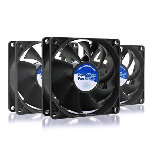 AABCOOLING Super Silent Fan 8 Pro - Un Silencioso y Muy Efectivo Ventilador 80mm, Ventilador 12V, Ventilador de Portatil, 80mm Cooler, 63m3/h, 1400 RPM - 3 Piezas 13,9 dB(A)