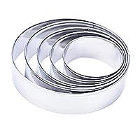 MJPP 5PCSケーキリング金型ステンレス鋼ラウンドサークルクッキーケーキリングケーキガムペースト金型ウエディングケーキツール