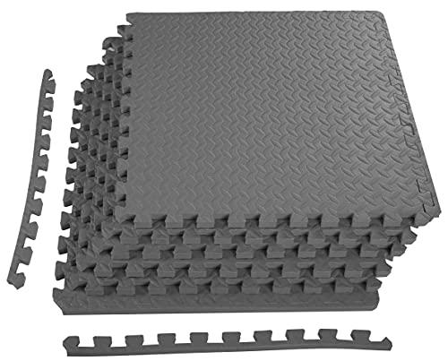 BalanceFrom Puzzle Exercise Mat with EVA Foam Interlocking Tiles, Gray...