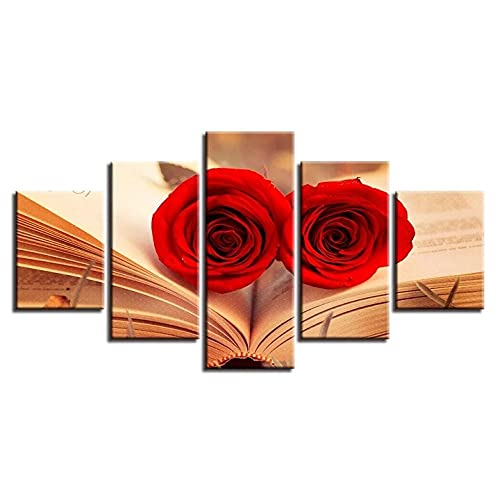 GUANGXING Multipannello Quadri Soggiorno Canvas Quadro su Tela Rose Rosse in Un Libro 5 Pezzi Stampa Artistica da Parete 5 Pannelli Decorativi Dipinti Parete Poster Arte Pronto Appendere
