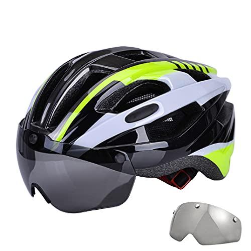 Feicuan Casco Bicicleta Adultos con Visera Magnética - Casco de MTB Gafas de Protección 55-62cm Ajustable para Monopatín Montaña Ciclismo de Carretera Unisex Hombres Mujers