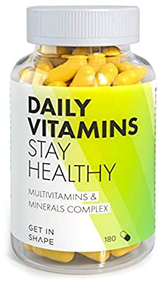 Daily Vitamins - Multivitamin Tablets and Minerals for Daily Intake - 180 Capsules (3 Months Supply) - Vitamin C, B12, Folic Acid, Iron, Zinc, Magnesium etc. by Get in Shape