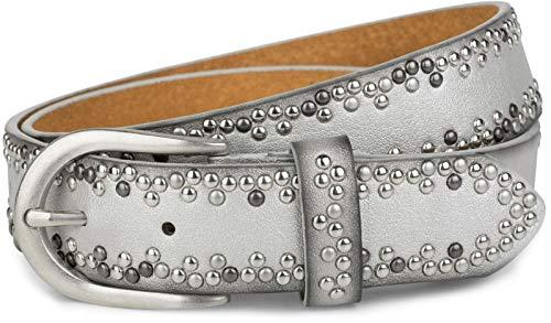 styleBREAKER Nietengürtel mit verschiedenfarbigen kleinen Nieten, Gürtel, kürzbar, Unisex 03010071, Größe:105cm, Farbe:Silber