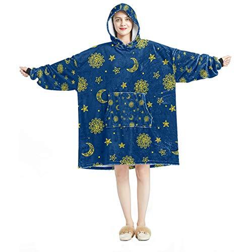 Sudadera con capucha para mujer, cómoda para el hogar, chándal relajado, cálido, espacial, sol, estrella, luna.