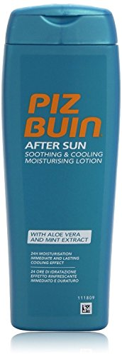 PIZ BUIN After Sun Soothing & Cooling Feuchtigkeitslotion – Kühlende, hautberuhigende After Sun Lotion spendet 24h Feuchtigkeit – Für langanhaltende Bräune – Schnell einziehend – 200ml