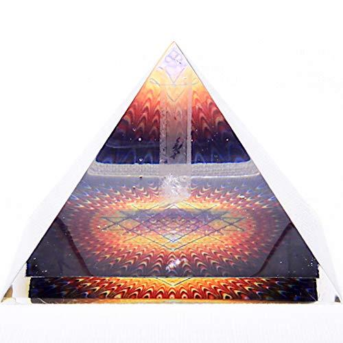 Pirámide de Orgonita Revitalizadora SRI YANTRS hecha a mano, para Abundancia, Prosperidad y Riqueza, con Cristal de Cuarzo
