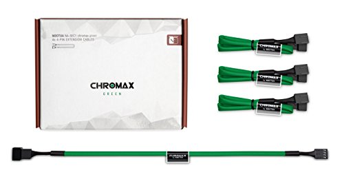 Noctua NA-SEC1 chromax.green, Cables de Extensión para Ventiladores (30 cm, Verde)