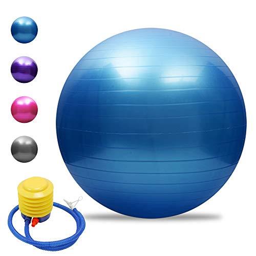 Tomshoo Pelota de yoga antipinchazos, gruesa, estable, pelota de equilibrio, pilates, barra, fitness, 45 cm/55 cm/65 cm/75 cm, bomba de aire, azul, 65 cm