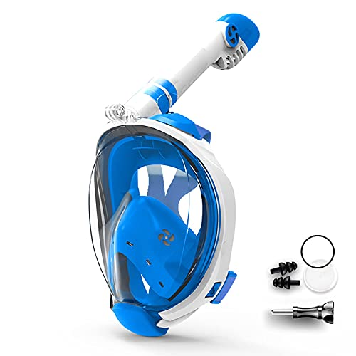 Scuba Diving Mask 180°Anti-Fog Anti-Leak with Foldable Tube and Camera Mount for Adults and Kids Youth for Dry Snorkeling, Swimming,M,S/M