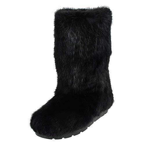Black/Brown Muskrat Fur Boots