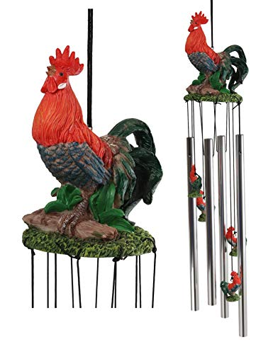 Ebros Gift Country Western Animal Farm Morning Sunshine Crowing Red Breasted Rooster Chicken Figurine Top Resonant Wind Chime for Garden Patio Rustic Farmland Cottage Themed Home Accent